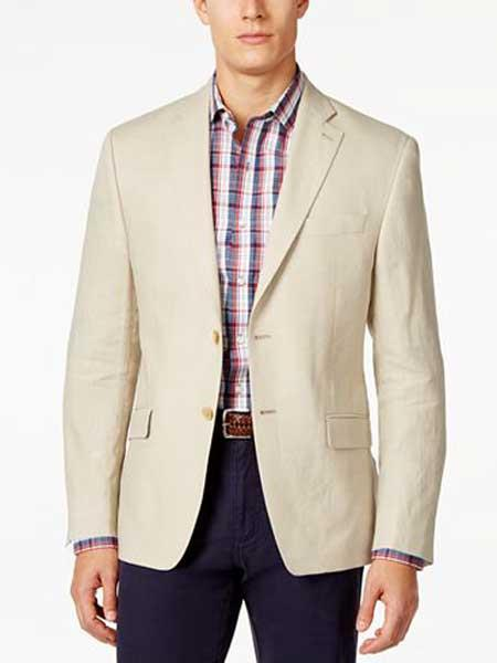 2 Button Solid Linen Classic Fit Tan Best Cheap Blazer For Affordable Cheap Priced Unique Fancy For Men Available Big Sizes on sale Men Affordable Sport Coats Sale