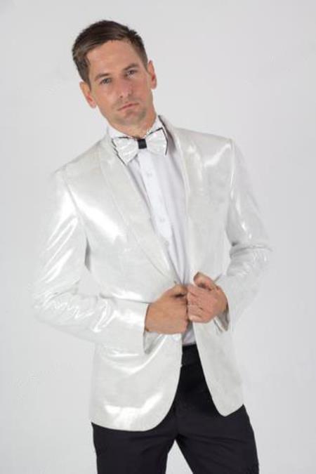 Two Button White Shiny Blazer