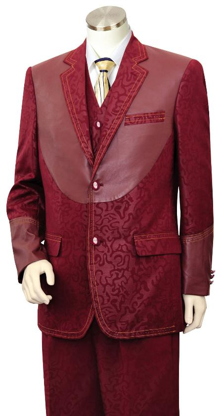 60s 70s Men's Jackets & Sweaters 3 Piece Fashion Trimmed Two Tone Sportcoat JacketSuitTuxedo - Fancy Pattern with Leather skin Trim Wine $190.00 AT vintagedancer.com