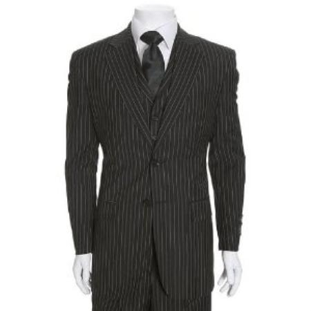 Black Suit With White Stripes Dress Yy