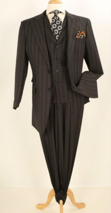 Wide Leg Pleated Pants 3 Pc Pinstripe Zoot Suit 1940s mens suits vintage fashion