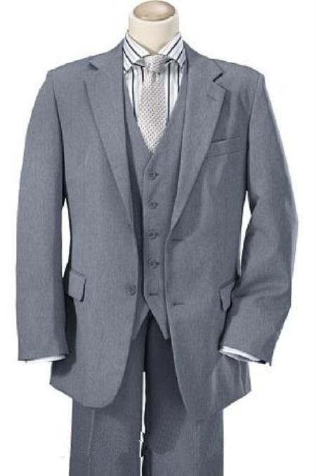 Men's Vintage Style Suits, Classic Suits High crafted professionally Mid Gray Two buttons Vested Wool fabric feel Man Made Fiberrayon Suits for Men Notch Collared Vented $150.00 AT vintagedancer.com