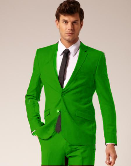 Features of modern men's lime Green suits