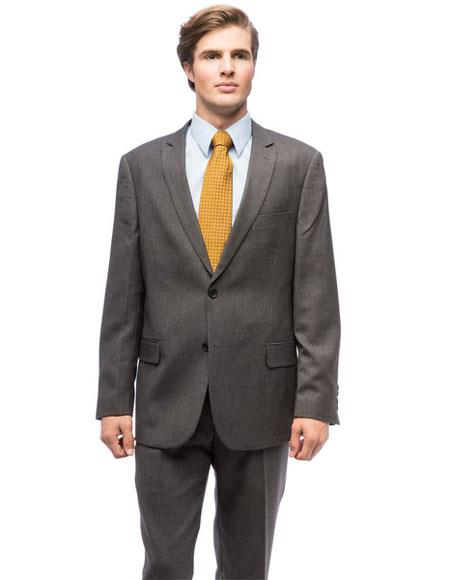 Two Buttons Grey Polyester Suits