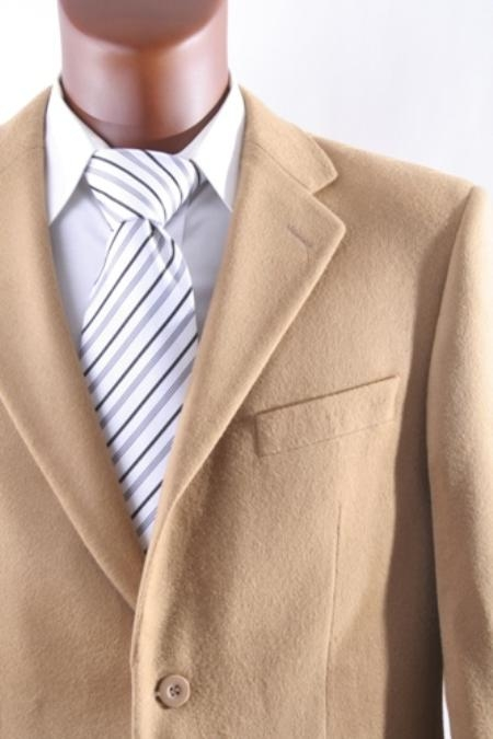 Two buttons Lamb Wool fabric Cashmere Designer Casual Cheap Priced Fashion Blazer Dress Jacket Unique Fancy Big Sizes Sport Coats Camel ~ Khakix
