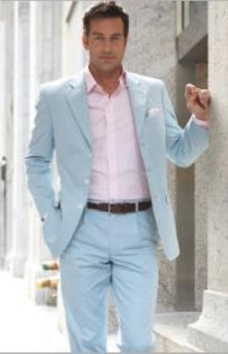 baby blue Three buttons Style Suit | clothing for Sale