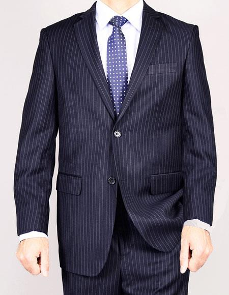 Two Buttons Navy Blue Suits