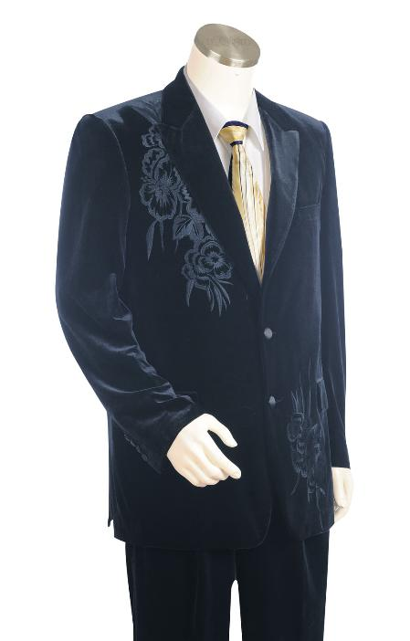 1960s Mens Suits | 70s Mens Disco Suits Stylish Two buttons Navy Zoot Suit $171.00 AT vintagedancer.com