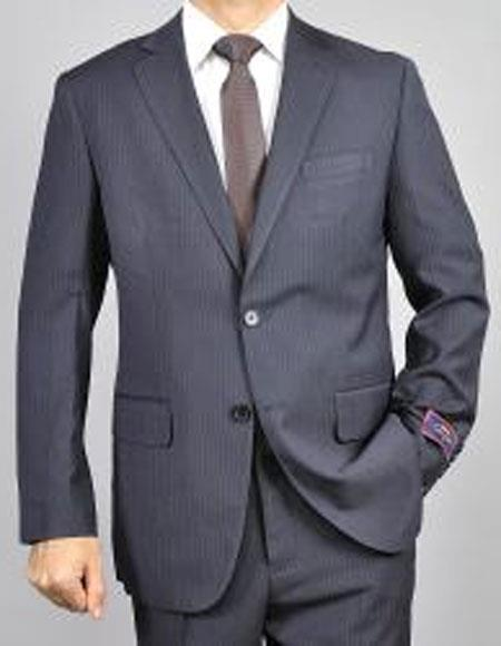 Two Buttons Pinstripe Black Suits