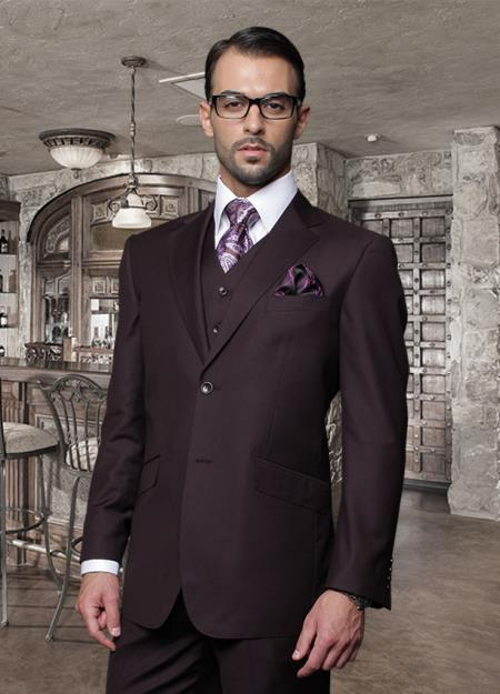 ID#ZAD_100 Classic Vested Two buttons Very Cheap Priced Fitted Tapered cut Cheap Priced Fitted Tapered cut Dark Purple pastel color ~ Plum ~ Eggplant Suit 3 ~ Three Piece Suit