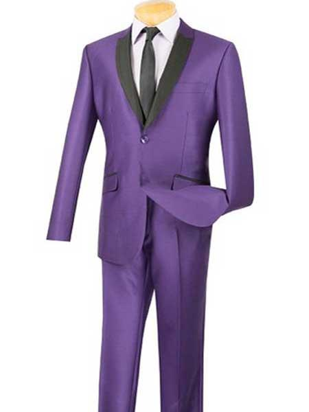 Slim Fit Two buttons Black and Purple Two toned pastel color Sharkskin Prom ~ Wedding Groomsmen Tuxedo Style Suit