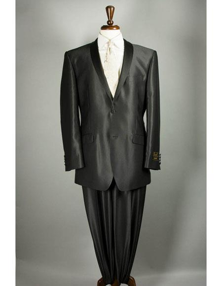 Two Buttons Sharkskin Black Suit