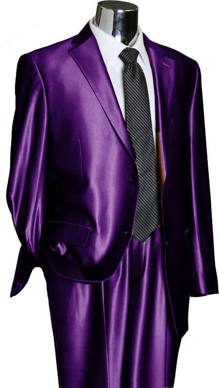 Two Buttons Shiny Purple Suit