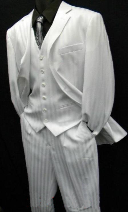 Two Buttons Shiny White Suit