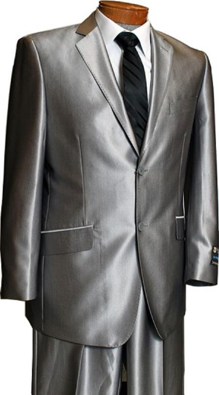 2b2f22711fe ID LX8201 Sateen Metallic Bight Two buttons Silver Inexpensive ~ Cheap ~  Discounted Clearance Sale Extra Slim Fit Shark Skin Suit Prom ~ Wedding  Groomsmen ...