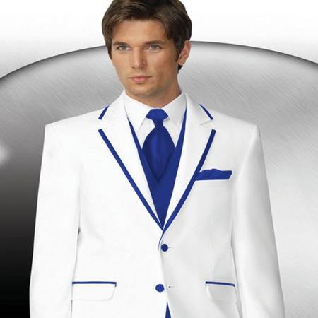 White Two buttons Tuxedo | Royal Blue Trim Collar Suit