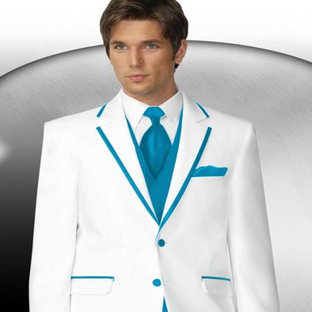 White with Turquoise Trim Collar Tuxedo