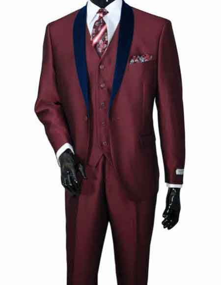 2 Piece Shawl Lapel Vested Wedding Burgundy Prom 3 ~ Three Piece Sharkskin Shiny Dark Navy Blue Lapel Cheap Discounted Suit