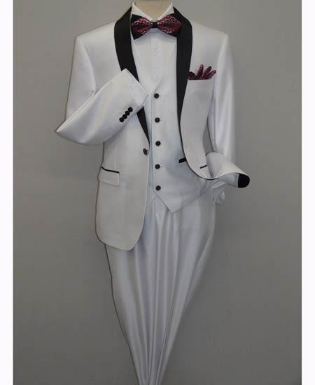 Two Toned White Shiny Tuxedo