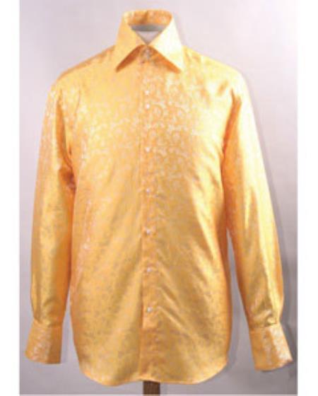 1960s – 1970s Mens Shirts- Dress, Mod, Disco, Turtleneck Unique Pattern Shiny Gold Shirt $47.00 AT vintagedancer.com