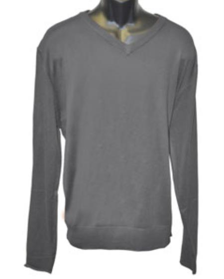 V Neck Long Slevee Charcoal Sweater