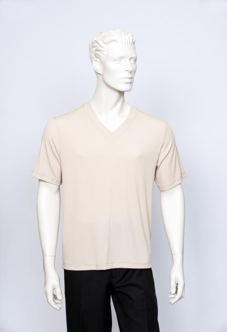 Vienna Beige V-Neck Ribbed Short Sleeve Sweater