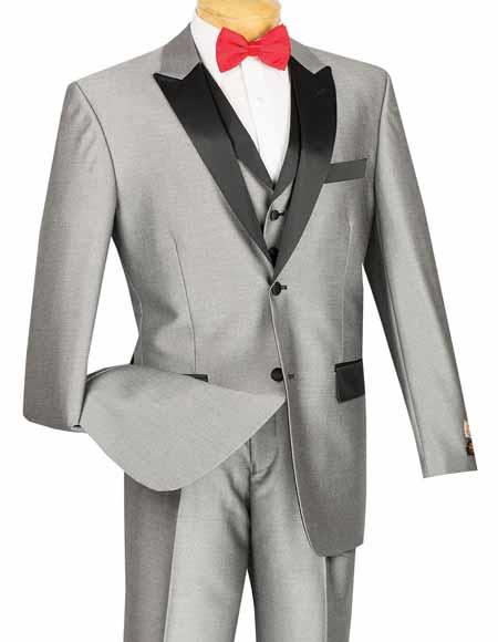 New Vintage Tuxedos, Tailcoats, Morning Suits, Dinner Jackets Vinci 3 Piece Classic Retro Style Two buttons Shiny Gray Tuxedo Entertainer Suit $171.00 AT vintagedancer.com