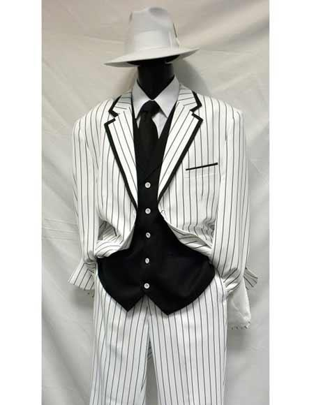 1940s Zoot Suit History & Buy Modern Zoot Suits White Black Gangster Bold Chalk Pinstripe Vested Suit $161.00 AT vintagedancer.com