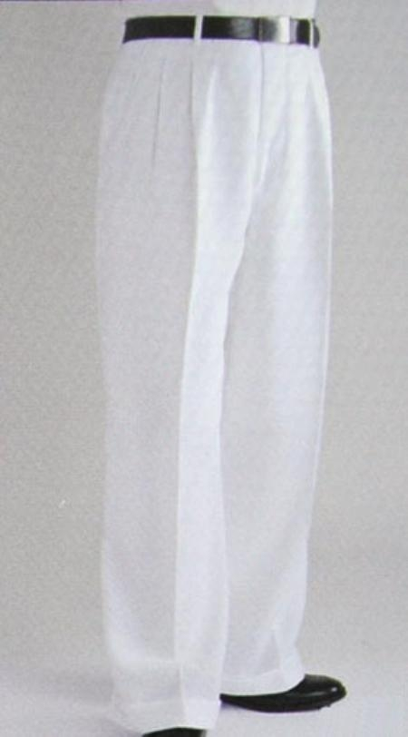White Wide Leg Dress Pants Baggy Dress Pants White Suit