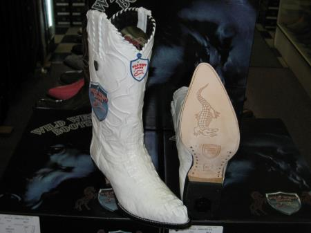 Wild West White Genuine crocodile skin ~ Gator skin western Dress Cowboy Boots Cheap Priced For Sale Online (EE)