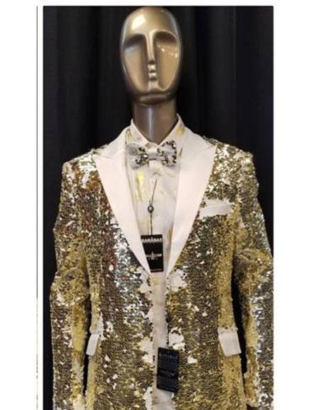 Fashion White ~ Black and Gold Shiny Sequin Glitter Paisley Fancy Party Best Cheap Blazer ~ Suit Jacket For Men Patterned Tuxedo Jacket Affordable Sport Coats Sale