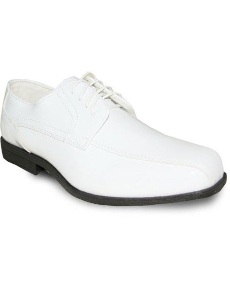 Mens Vintage Style Shoes| Retro Classic Shoes Oxford Tuxedo White Patent Formal for Prom  Wedding Lace Up Dress Shoe $93.00 AT vintagedancer.com