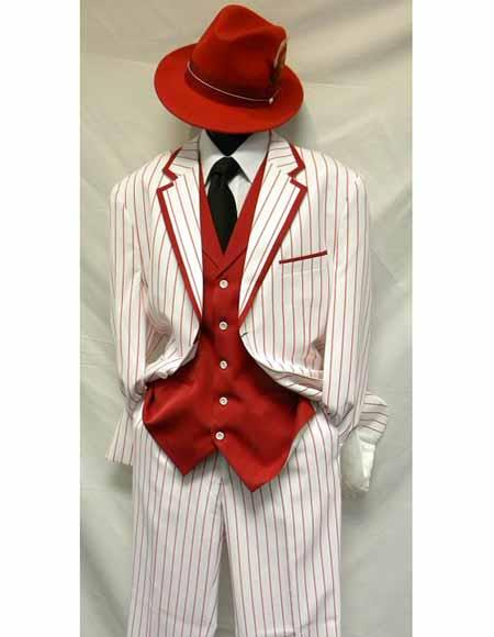 1940s Mens Clothing WhiteRed Gangster Bold Chalk Pinstripe Vested 1920s Seersucker Suit $161.00 AT vintagedancer.com