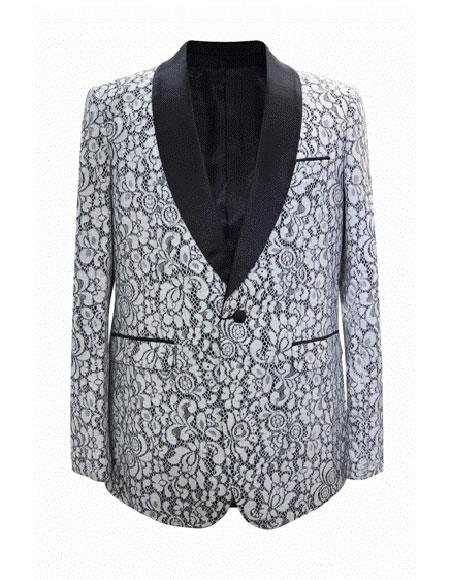 White Shawl Lapel  Cheap Fashion One Button Big and Tall Large Man ~ Plus Size Plus Size Sport Coats