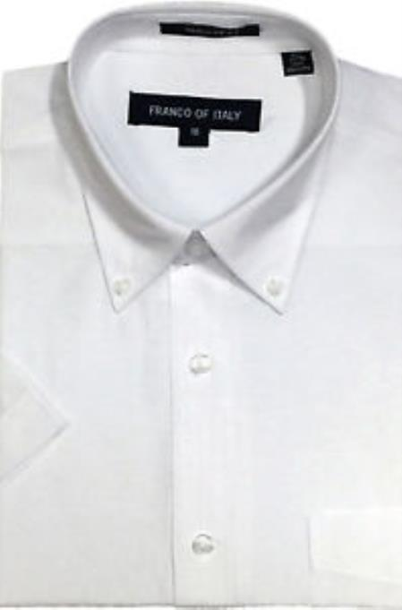 Basic Button Down White Oxford Dress Cheap Fashion Clearance Shirt Sale Online For Men Short Sleeve Summer Wear