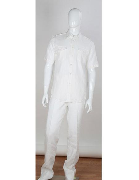 Double Chest Pockets 2 Piece Short Sleeve Stripe Accent Beach Wedding Outfit - men's All White Linen Suit