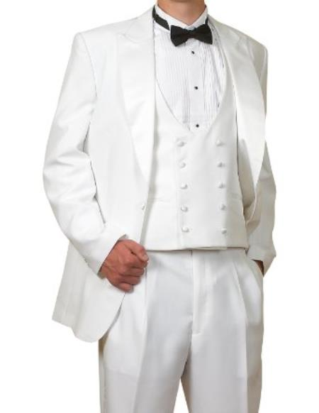 New Vintage Tuxedos, Tailcoats, Morning Suits, Dinner Jackets 6 Piece Complete White Tuxedo Single Buttons Jacket Pants Reversible Vest $176.00 AT vintagedancer.com