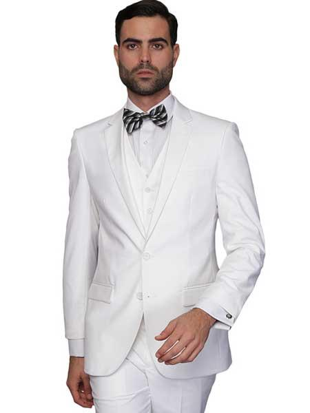 White Italian Wool fabric Single Breasted 3 Piece Slim Fit V