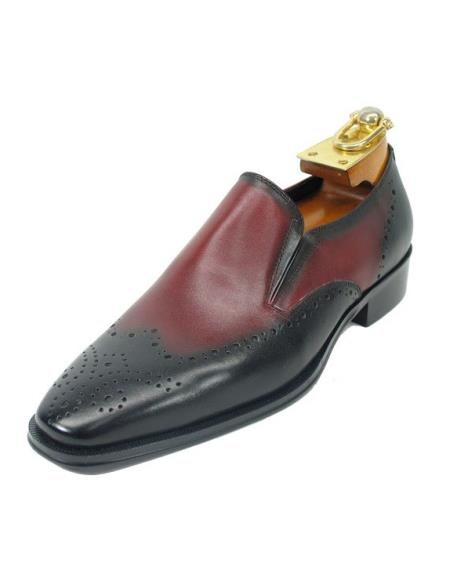 Fashionable Black / Burgundy Dress Shoe men's two tone wingtip dress shoes~ Spectator Toe Perf Slip On Style Carrucci Shoes