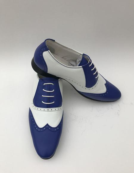 Two Toned Wingtip Style Indigo ~ White Laceup Color Shoes