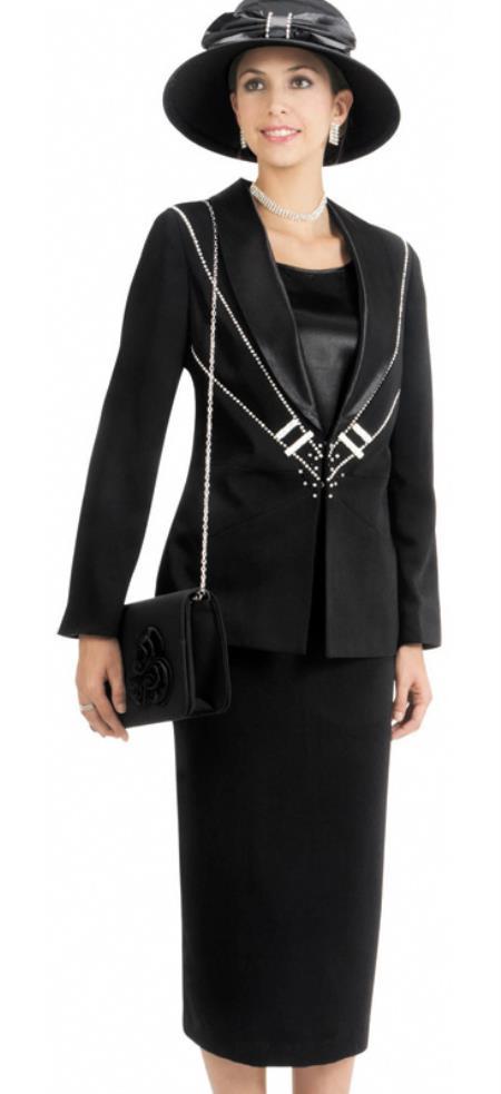 Vintage Suits Women | Work Wear & Office Wear Womens 3 Piece Dress Combo Dark color black $140.00 AT vintagedancer.com