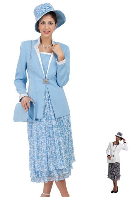 Vintage Suits Women | Work Wear & Office Wear Womens Dress Combo Dark color blackWhite BlueWhite $140.00 AT vintagedancer.com