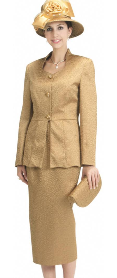 Vintage Suits Women | Work Wear & Office Wear Womens 3 Piece Dress Combo Gold $140.00 AT vintagedancer.com