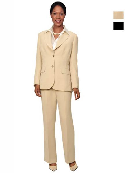Two Button Women's Tan~Black Suit