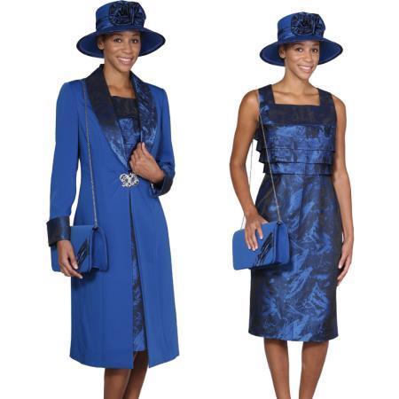 Womens Royal Blue Dress Set