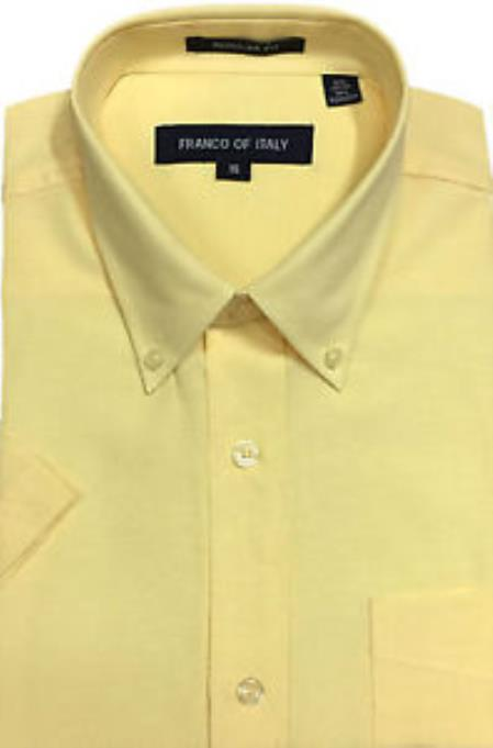 Basic Button Down Oxford Dress Cheap Fashion Clearance Shirt Sale Online For Men Soft Yellow Short Sleeve Summer Wear