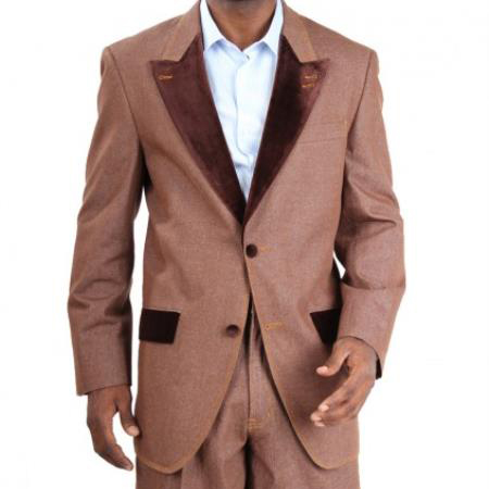 1960s Mens Suits | 70s Mens Disco Suits 2Button Suit Leg Pants Cotton Brown Mens LooseFit Trousers JacketVest $187.00 AT vintagedancer.com