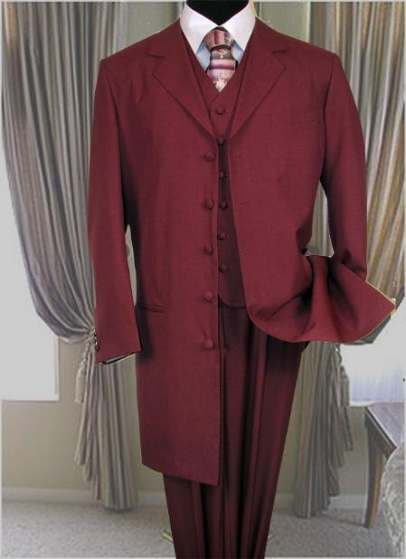 Burgundy Fashion Zoot Suit 38 Inch Long Jacket With