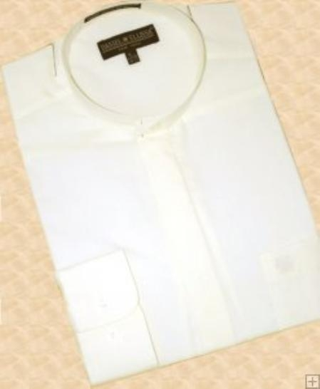 Cream Ivory Banded Collar Cotton Blend Dress Shirt