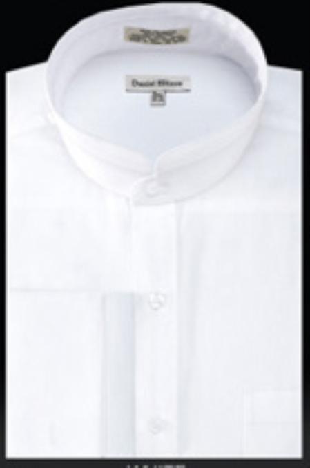White Collarless Shirt Mens